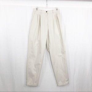 LL Bean High Rise Mom Khakis Pants, Size 8, Tan